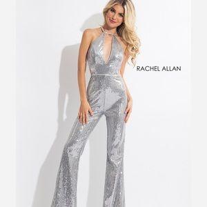 Rachel Allan silver sequin formal jumpsuit